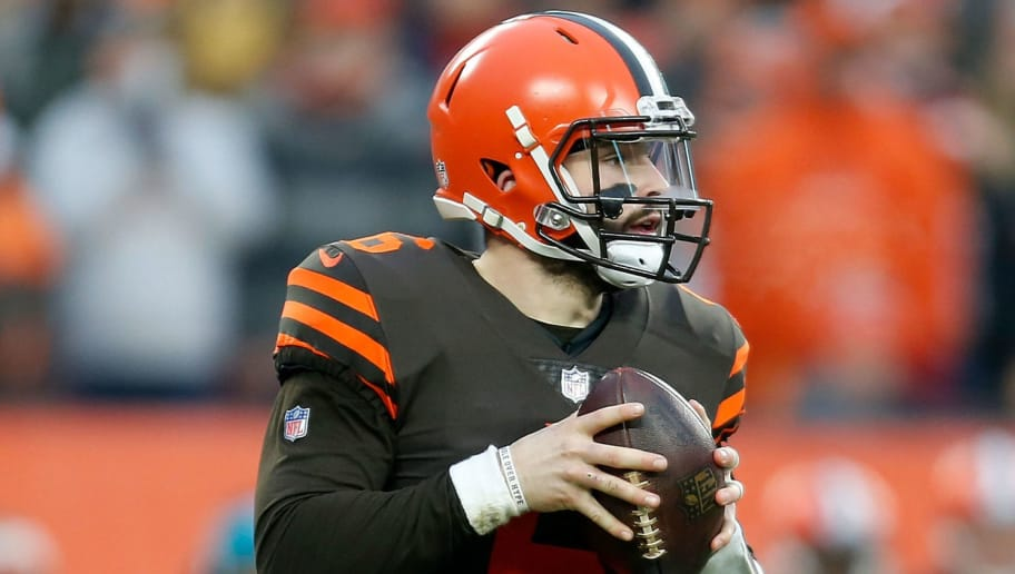 CLEVELAND, OH - DECEMBER 23:  Baker Mayfield #6 of the Cleveland Browns looks to throw the ball during the game against the Cincinnati Bengals at FirstEnergy Stadium on December 23, 2018 in Cleveland, Ohio. (Photo by Kirk Irwin/Getty Images)