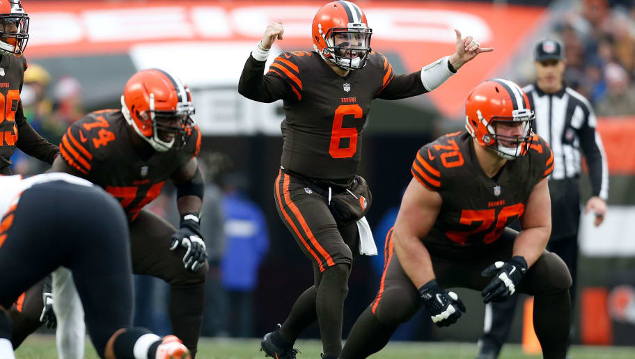 CLEVELAND, OH - DECEMBER 23:  Baker Mayfield #6 of the Cleveland Browns calls a play at the line of scrimmage during the game against the Cincinnati Bengals at FirstEnergy Stadium on December 23, 2018 in Cleveland, Ohio. (Photo by Kirk Irwin/Getty Images)