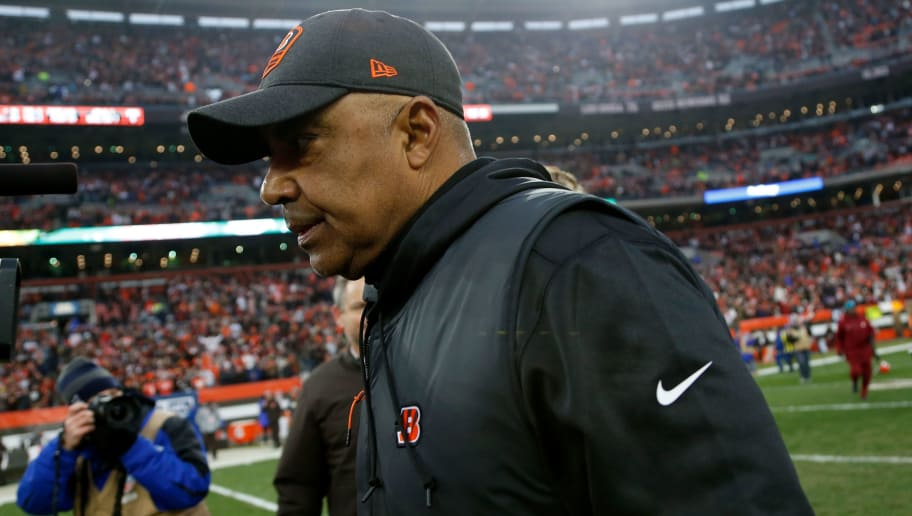 CLEVELAND, OH - DECEMBER 23:  Head coach Marvin Lewis of the Cincinnati Bengals walks off of the field after the game against the Cleveland Browns at FirstEnergy Stadium on December 23, 2018 in Cleveland, Ohio. (Photo by Kirk Irwin/Getty Images)