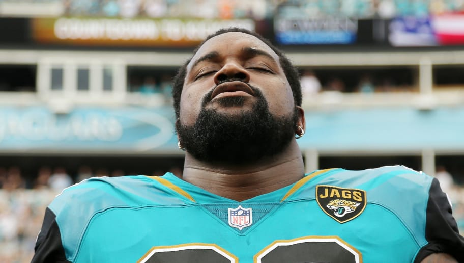 JACKSONVILLE, FL - NOVEMBER 05:  Marcell Dareus #99 of the Jacksonville Jaguars waits in the bench area prior to the start of their game against the Cincinnati Bengals at EverBank Field on November 5, 2017 in Jacksonville, Florida.  (Photo by Logan Bowles/Getty Images)