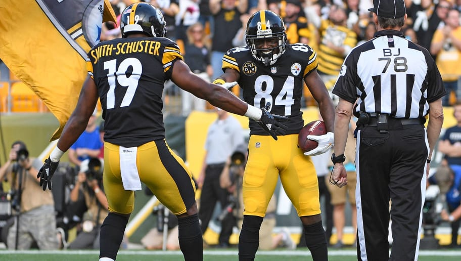 de24ba000 Antonio Brown and JuJu Smith-Schuster Take Practice Field Together for  First Time This Year