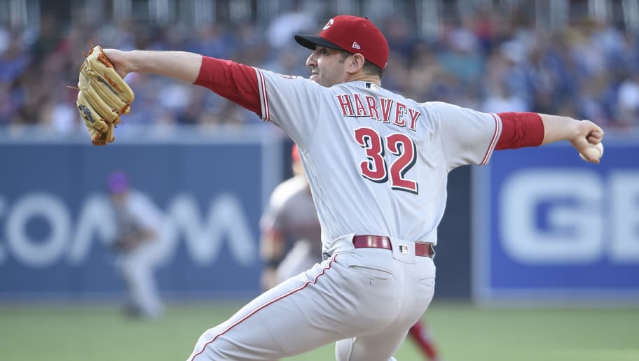SAN DIEGO, CA - JUNE 2: Matt Harvey #32 of the Cincinnati Reds pitches during the first inning of a baseball game against the San Diego Padres at PETCO Park on June 2, 2018 in San Diego, California. (Photo by Denis Poroy/Getty Images)
