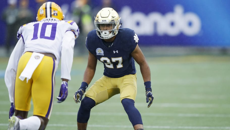 ORLANDO, FL - JANUARY 01: Julian Love #27 of the Notre Dame Fighting Irish in action during the Citrus Bowl against the LSU Tigers on January 1, 2018 in Orlando, Florida. Notre Dame won 21-17. (Photo by Joe Robbins/Getty Images)