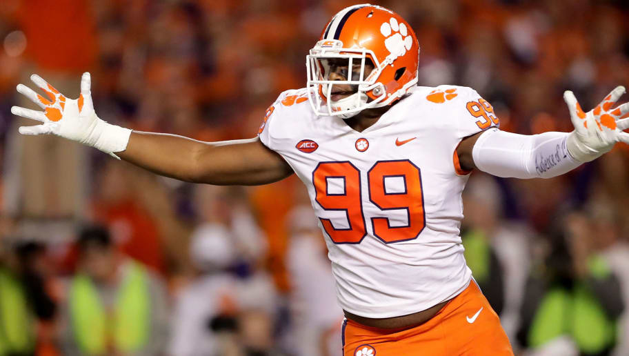 COLUMBIA, SC - NOVEMBER 25:  Clelin Ferrell #99 of the Clemson Tigers reacts after a play against the South Carolina Gamecocks during their game at Williams-Brice Stadium on November 25, 2017 in Columbia, South Carolina.  (Photo by Streeter Lecka/Getty Images)