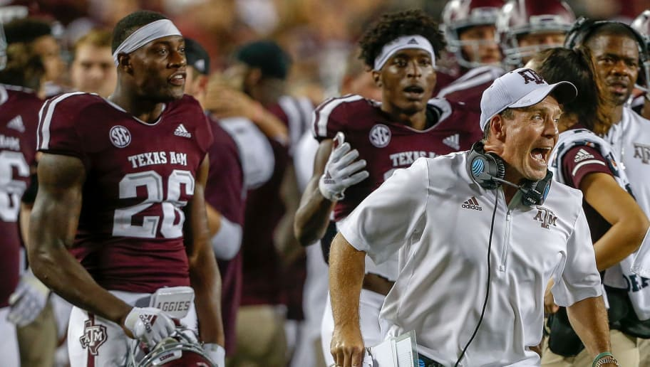 COLLEGE STATION, TX - SEPTEMBER 08:  Head coach Jimbo Fisher of the Texas A&M Aggies reacts after officials ruled that the ball was fumbled through the endzone resulting in a touchback against the Clemson Tigers at Kyle Field on September 8, 2018 in College Station, Texas. (Photo by Bob Levey/Getty Images)