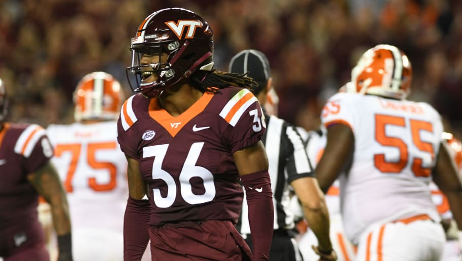 BLACKSBURG, VA - SEPTEMBER 30:  Adonis Alexander #36 of the Virginia Tech Hokies celebrates a tackle during the second half against the Clemson Tigers at Lane Stadium on September 30, 2017 in Blacksburg, Virginia.  (Photo by Michael Shroyer/Getty Images)