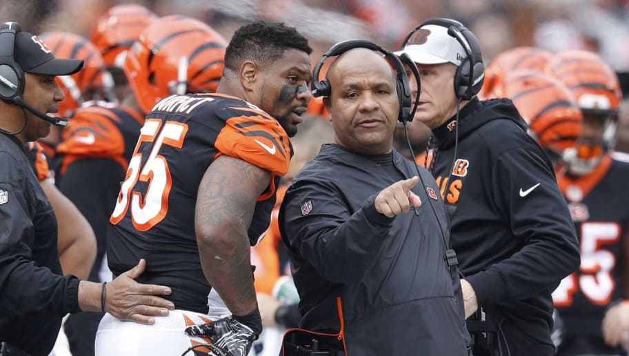 CINCINNATI, OH - NOVEMBER 25: Assistant coach Hue Jackson of the Cincinnati Bengals talks with Vontaze Burfict #55 during the game against the Cleveland Browns at Paul Brown Stadium on November 25, 2018 in Cincinnati, Ohio. Cleveland won 35-20. (Photo by Joe Robbins/Getty Images)