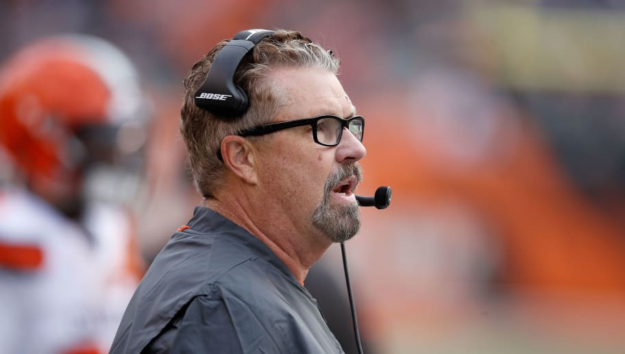 CINCINNATI, OH - NOVEMBER 25:  Head coach Gregg Williams of the Cleveland Browns calls a play during the third quarter of the game against the Cincinnati Bengals at Paul Brown Stadium on November 25, 2018 in Cincinnati, Ohio. (Photo by Joe Robbins/Getty Images)