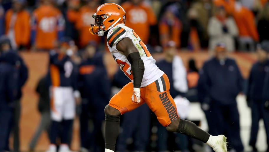 DENVER, COLORADO - DECEMBER 15: Jabrill Peppers #22 of the Cleveland Browns celebrates after sacking quarterback Case Keenum #4 on the Denver Broncos on fourth down in the final seconds of the fourth quarter at Broncos Stadium at Mile High on December 15, 2018 in Denver, Colorado. (Photo by Matthew Stockman/Getty Images)