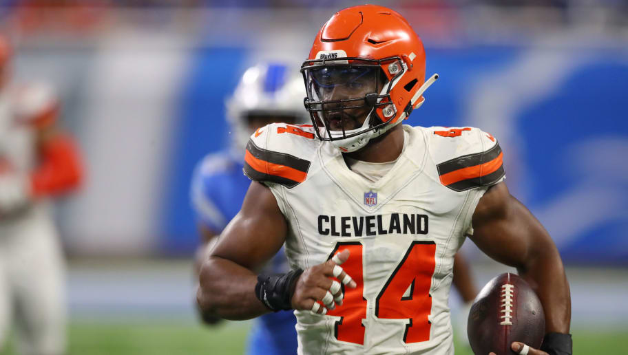 DETROIT, MI - AUGUST 30: Nate Orchard #44 of the Cleveland Browns runs for a second quarter touchdown after intercepting a pass while playing the Detroit Lions during a preseason game at Ford Field on August 30, 2018 in Detroit, Michigan. (Photo by Gregory Shamus/Getty Images)