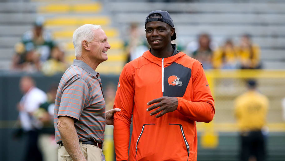 GREEN BAY, WI - AUGUST 12:  Josh Gordon #12 of the Cleveland Browns talks with team owner Jimmy Haslam before the game against the Green Bay Packers at Lambeau Field on August 12, 2016 in Green Bay, Wisconsin. (Photo by Dylan Buell/Getty Images)
