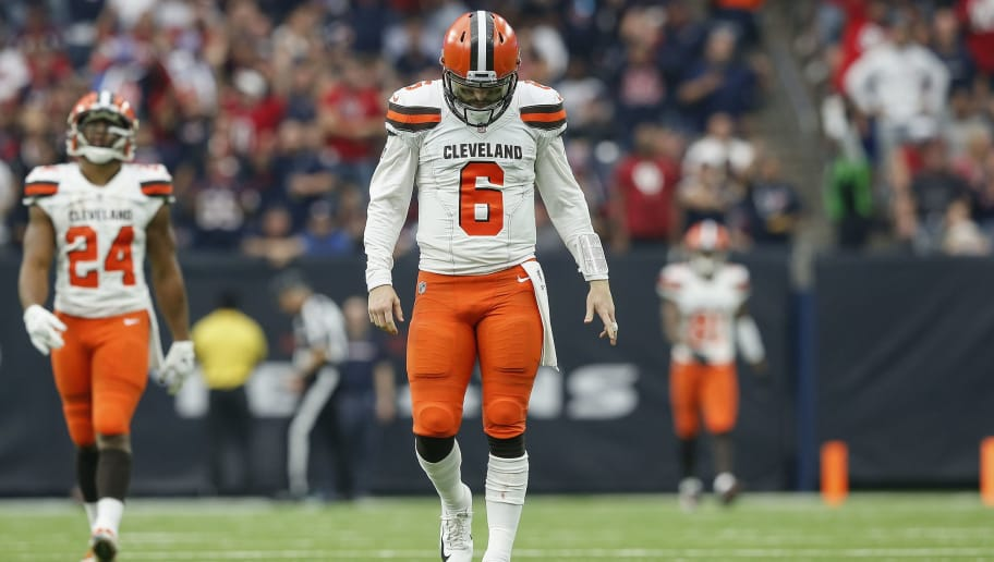 HOUSTON, TX - DECEMBER 02:  Baker Mayfield #6 of the Cleveland Browns reacts after a touchdown was called back due to a penalty in the third quarter against the Houston Texans at NRG Stadium on December 2, 2018 in Houston, Texas.  (Photo by Tim Warner/Getty Images)