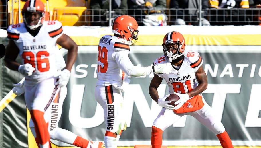 PITTSBURGH, PA - DECEMBER 31: Rashard Higgins #81 of the Cleveland Browns celebrates with Duke Johnson #29 after a 56 yard touchdown reception in the second quarter during the game at Heinz Field on December 31, 2017 in Pittsburgh, Pennsylvania. (Photo by Joe Sargent/Getty Images)