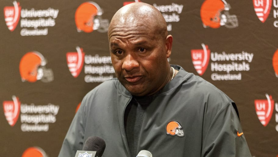 TAMPA, FL - OCTOBER 21: Head Coach Hue Jackson of the Cleveland Browns addresses the media during the press conference after the game against the Tampa Bay Buccaneers at Raymond James Stadium on October 21, 2018 in Tampa, Florida. The Buccaneers defeated the Browns 26-23 in overtime. (Photo by Don Juan Moore/Getty Images)