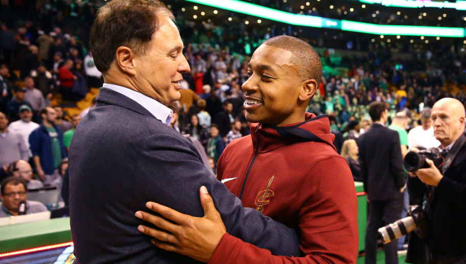 BOSTON, MA - JANUARY 3: Isaiah Thomas #3 of the Cleveland Cavaliers hugs Celtics co-owner Stephen Pagliuca after the Celtics defeat the Cavaliers 102-88 at TD Garden on January 3, 2018 in Boston, Massachusetts. (Photo by Maddie Meyer/Getty Images)