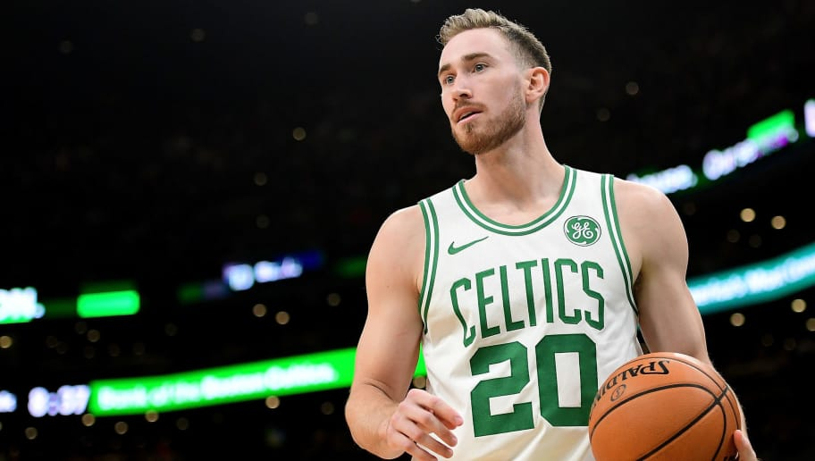BOSTON, MA - NOVEMBER 30:  Gordon Hayward #20 of the Boston Celtics looks on during a game against ethics's Cleveland Cavaliers at TD Garden on November 30, 2018 in Boston, Massachusetts. NOTE TO USER: User expressly acknowledges and agrees that, by downloading and or using this photograph, User is consenting to the terms and conditions of the Getty Images License Agreement. (Photo by Adam Glanzman/Getty Images)