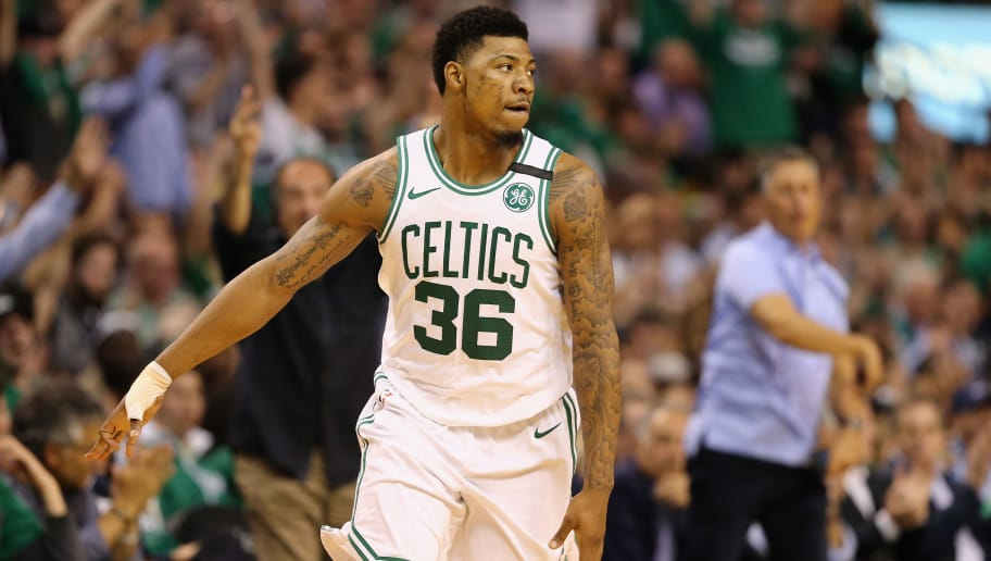 BOSTON, MA - MAY 23:  Marcus Smart #36 of the Boston Celtics gestures in the first half against the Cleveland Cavaliers during Game Five of the 2018 NBA Eastern Conference Finals at TD Garden on May 23, 2018 in Boston, Massachusetts. NOTE TO USER: User expressly acknowledges and agrees that, by downloading and or using this photograph, User is consenting to the terms and conditions of the Getty Images License Agreement.  (Photo by Maddie Meyer/Getty Images)
