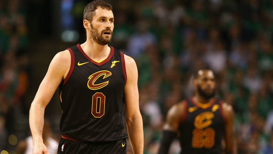BOSTON, MA - MAY 23:  Kevin Love #0 of the Cleveland Cavaliers looks on in the first half against the Boston Celtics during Game Five of the 2018 NBA Eastern Conference Finals at TD Garden on May 23, 2018 in Boston, Massachusetts. NOTE TO USER: User expressly acknowledges and agrees that, by downloading and or using this photograph, User is consenting to the terms and conditions of the Getty Images License Agreement.  (Photo by Maddie Meyer/Getty Images)
