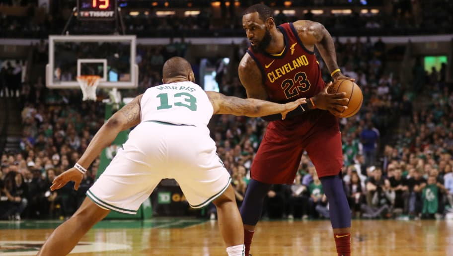 BOSTON, MA - MAY 13: LeBron James #23 of the Cleveland Cavaliers is defended by Marcus Morris #13 of the Boston Celtics during the first quarter in Game One of the Eastern Conference Finals of the 2018 NBA Playoffs at TD Garden on May 13, 2018 in Boston, Massachusetts.  (Photo by Maddie Meyer/Getty Images)
