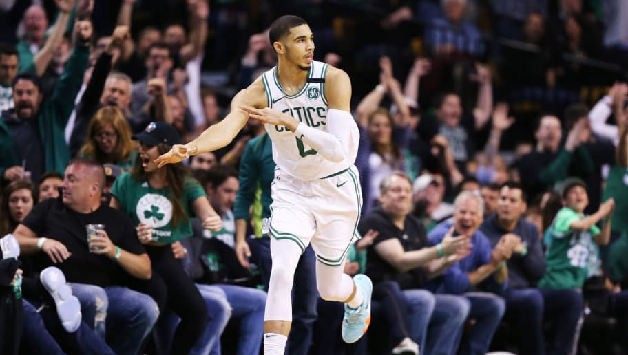 BOSTON, MA - MAY 27: Jayson Tatum #0 of the Boston Celtics celebrates after hitting a three point shot against the Cleveland Cavaliers during Game Seven of the 2018 NBA Eastern Conference Finals  at TD Garden on May 27, 2018 in Boston, Massachusetts. (Photo by Maddie Meyer/Getty Images)