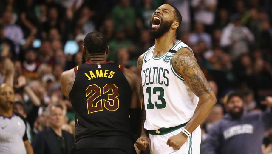 BOSTON, MA - MAY 27:  Marcus Morris #13 of the Boston Celtics reacts in the second half against the Cleveland Cavaliers during Game Seven of the 2018 NBA Eastern Conference Finals at TD Garden on May 27, 2018 in Boston, Massachusetts. NOTE TO USER: User expressly acknowledges and agrees that, by downloading and or using this photograph, User is consenting to the terms and conditions of the Getty Images License Agreement.  (Photo by Maddie Meyer/Getty Images)