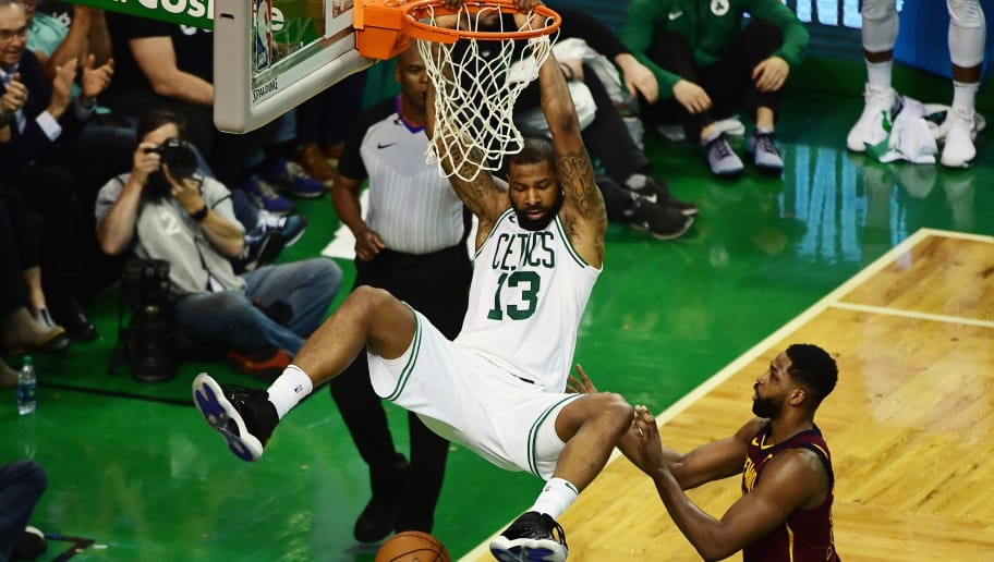 BOSTON, MA - MAY 15:  Marcus Morris #13 of the Boston Celtics dunks the ball in the first half against the Cleveland Cavaliers during Game Two of the 2018 NBA Eastern Conference Finals at TD Garden on May 15, 2018 in Boston, Massachusetts. NOTE TO USER: User expressly acknowledges and agrees that, by downloading and or using this photograph, User is consenting to the terms and conditions of the Getty Images License Agreement.  (Photo by Billie Weiss/Getty Images)