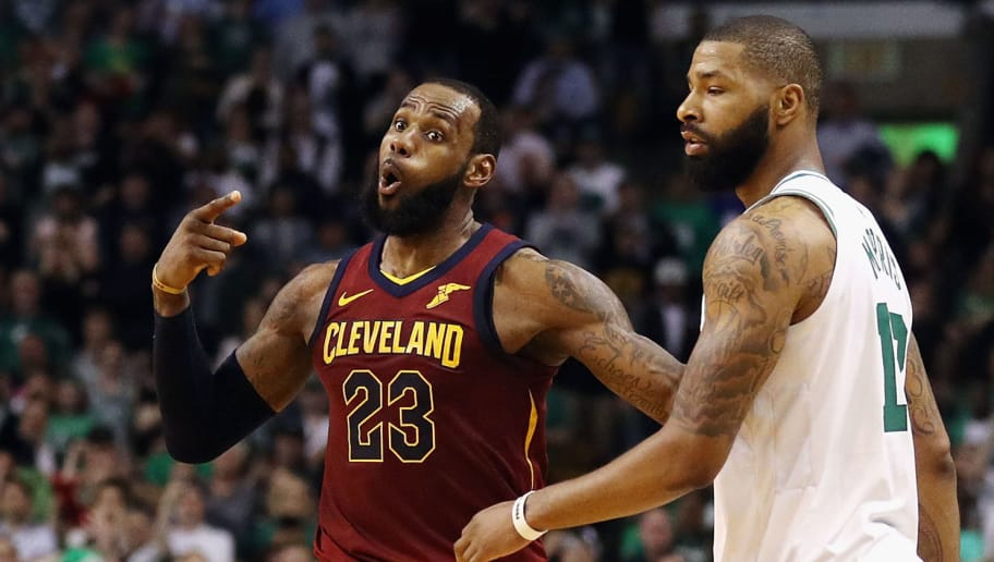 BOSTON, MA - MAY 15:  LeBron James #23 of the Cleveland Cavaliers reacts in the first half against the Boston Celtics during Game Two of the 2018 NBA Eastern Conference Finals at TD Garden on May 15, 2018 in Boston, Massachusetts. NOTE TO USER: User expressly acknowledges and agrees that, by downloading and or using this photograph, User is consenting to the terms and conditions of the Getty Images License Agreement.  (Photo by Maddie Meyer/Getty Images)