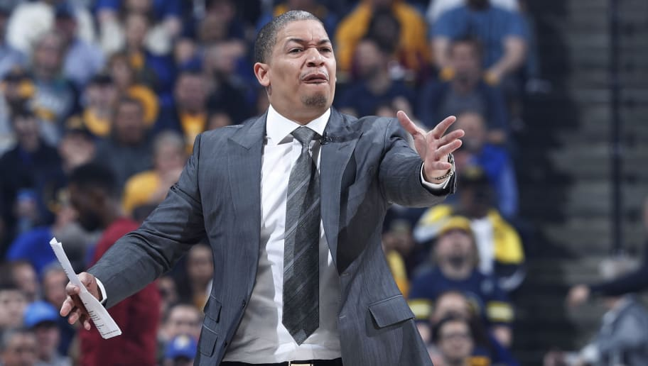 INDIANAPOLIS, IN - APRIL 22: Head coach Tyronn Lue of the Cleveland Cavaliers reacts in the first half of game four of the NBA Playoffs against the Indiana Pacers at Bankers Life Fieldhouse on April 22, 2018 in Indianapolis, Indiana. The Cavaliers won 104-100. NOTE TO USER: User expressly acknowledges and agrees that, by downloading and or using the photograph, User is consenting to the terms and conditions of the Getty Images License Agreement. (Photo by Joe Robbins/Getty Images)
