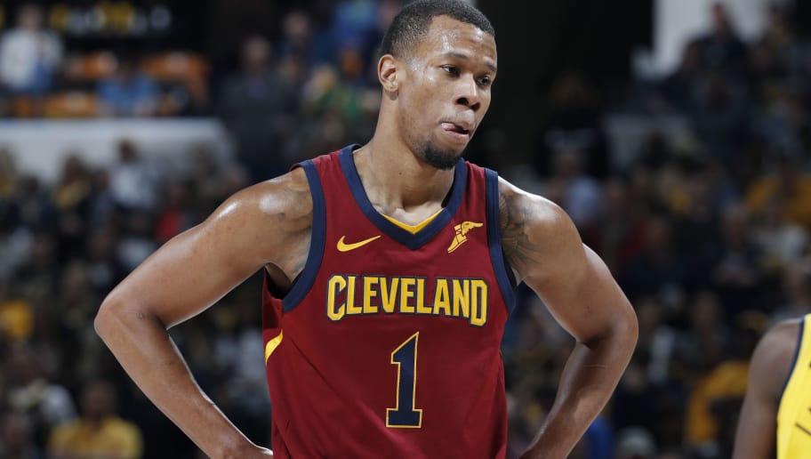 INDIANAPOLIS, IN - APRIL 22: Rodney Hood #1 of the Cleveland Cavaliers looks on during game four of the NBA Playoffs against the Indiana Pacers at Bankers Life Fieldhouse on April 22, 2018 in Indianapolis, Indiana. The Cavaliers won 104-100. NOTE TO USER: User expressly acknowledges and agrees that, by downloading and or using the photograph, User is consenting to the terms and conditions of the Getty Images License Agreement. (Photo by Joe Robbins/Getty Images) *** Local Caption *** Rodney Hood