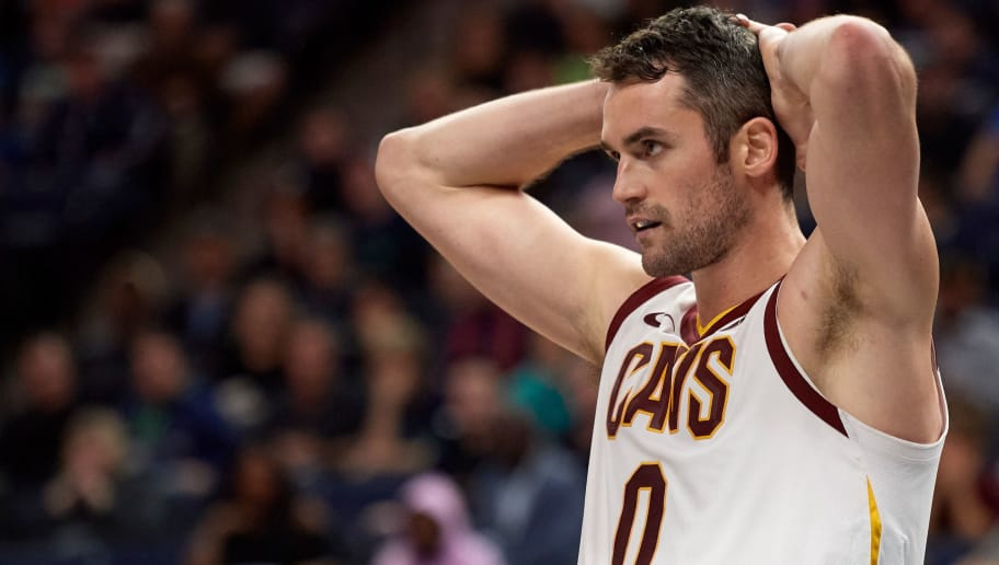 MINNEAPOLIS, MN - OCTOBER 19: Kevin Love #0 of the Cleveland Cavaliers looks on during the game against the Minnesota Timberwolves on October 19, 2018 at the Target Center in Minneapolis, Minnesota. The Timberwolves defeated the Cavaliers 131-123. NOTE TO USER: User expressly acknowledges and agrees that, by downloading and or using this Photograph, user is consenting to the terms and conditions of the Getty Images License Agreement. (Photo by Hannah Foslien/Getty Images)