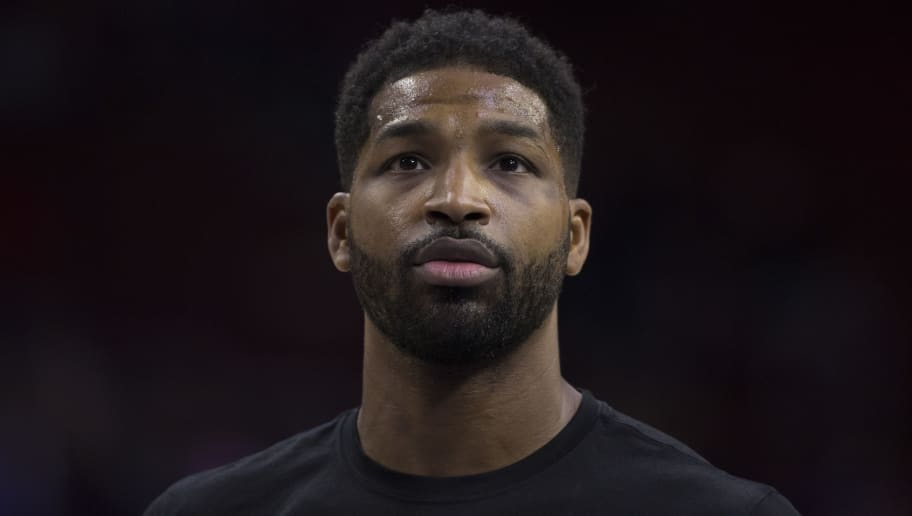 PHILADELPHIA, PA - NOVEMBER 23: Tristan Thompson #13 of the Cleveland Cavaliers looks on prior to the game against the Philadelphia 76ers at the Wells Fargo Center on November 23, 2018 in Philadelphia, Pennsylvania. NOTE TO USER: User expressly acknowledges and agrees that, by downloading and or using this photograph, User is consenting to the terms and conditions of the Getty Images License Agreement. (Photo by Mitchell Leff/Getty Images)
