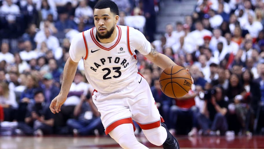 TORONTO, ON - MAY 03:  Fred VanVleet #23 of the Toronto Raptors dribbles the ball in the first half of Game Two of the Eastern Conference Semifinals against the Cleveland Cavaliers during the 2018 NBA Playoffs at Air Canada Centre on May 3, 2018 in Toronto, Canada.  NOTE TO USER: User expressly acknowledges and agrees that, by downloading and or using this photograph, User is consenting to the terms and conditions of the Getty Images License Agreement.  (Photo by Vaughn Ridley/Getty Images)