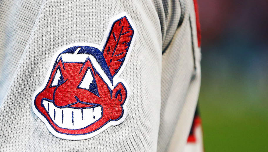 BOSTON, MA - AUGUST 20:  A detailed view of the Cleveland Indians logo patch on a jersey of Michael Brantley #23 of the Cleveland Indians before a game against the ]Boston Red Sox at Fenway Park on August 20, 2018 in Boston, Massachusetts.  (Photo by Adam Glanzman/Getty Images)