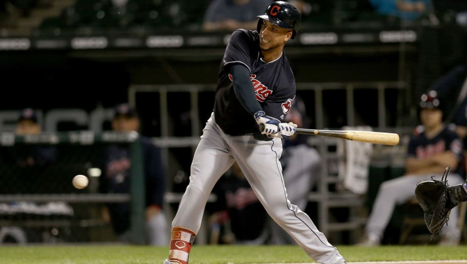 CHICAGO, IL - SEPTEMBER 26:  Michael Brantley #23 of the Cleveland Indians strikes out in the first inning against the Chicago White Sox at Guaranteed Rate Field on September 26, 2018 in Chicago, Illinois. (Photo by Dylan Buell/Getty Images)