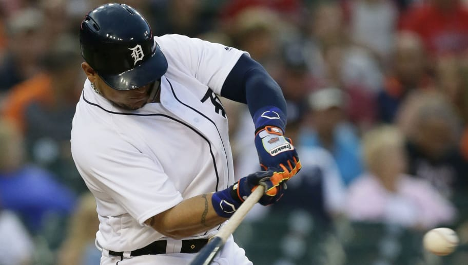 DETROIT, MI - JUNE 08:  Miguel Cabrera #24 of the Detroit Tigers singles against the Cleveland Indians during the sixth inning at Comerica Park on June 8, 2018 in Detroit, Michigan. The Indians defeated the Tigers 4-1. (Photo by Duane Burleson/Getty Images)