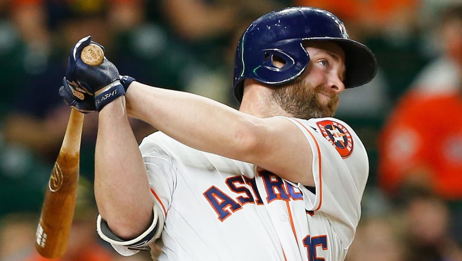 HOUSTON, TX - MAY 20: Brian McCann #16 of the Houston Astros hits a two-run home run in the seventh inning against the Cleveland Indians at Minute Maid Park on May 20, 2018 in Houston, Texas. (Photo by Bob Levey/Getty Images)