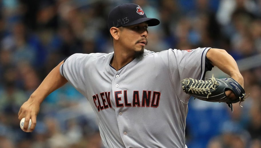 ST PETERSBURG, FL - SEPTEMBER 12:  Carlos Carrasco #59 of the Cleveland Indians pitches during a game against the Tampa Bay Rays at Tropicana Field on September 12, 2018 in St Petersburg, Florida.  (Photo by Mike Ehrmann/Getty Images)