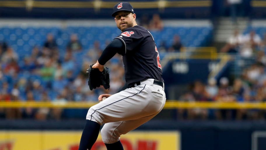 ST. PETERSBURG, FL - AUGUST 13:  Pitcher Corey Kluber #28 of the Cleveland Indians pitches during the first inning of a game against the Tampa Bay Rays on August 13, 2017 at Tropicana Field in St. Petersburg, Florida. (Photo by Brian Blanco/Getty Images)