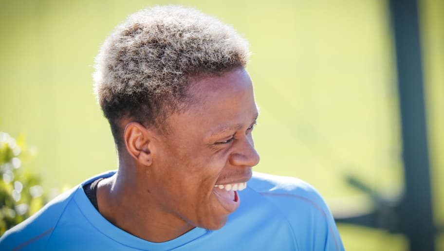 MARSEILLE, FRANCE - OCTOBER 24:  Clinton Njie of Olympique de Marseille looks on during an Olympique de Marseille training session prior to the UEFA Europa League Group H match between Olympique de Marseille and SS Lazio at Centre Robert-Louis Dreyfus on October 24, 2018 in Marseille, France.  (Photo by Guillaume Ruoppollo - OM/Getty Images)