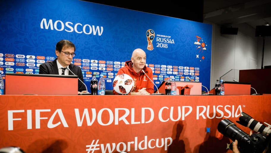 MOSCOW, RUSSIA - JULY 13: FIFA President Gianni Infantino is seen during a press conference at Luzhniki Stadium on July 13, 2018 in Moscow, Russia. (Photo by Reinaldo Coddou H./Getty Images)