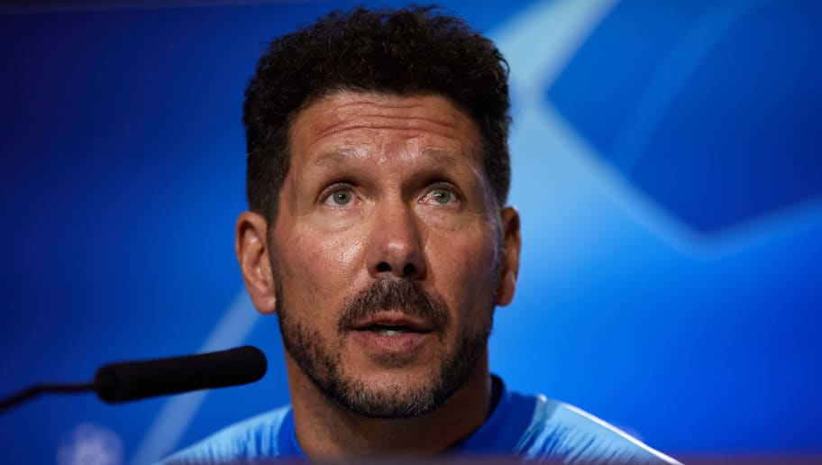 MAJADAHONDA, SPAIN - NOVEMBER 05: Head coach Diego Pablo Simeone of Atletico de Madrid during a press conference  ahead of the UEFA Champions League match against Borussia Dortmund at Atletico de Madrid Training Ground on November 05, 2018 in Majadahonda, Spain. (Photo by Gonzalo Arroyo Moreno/Getty Images)