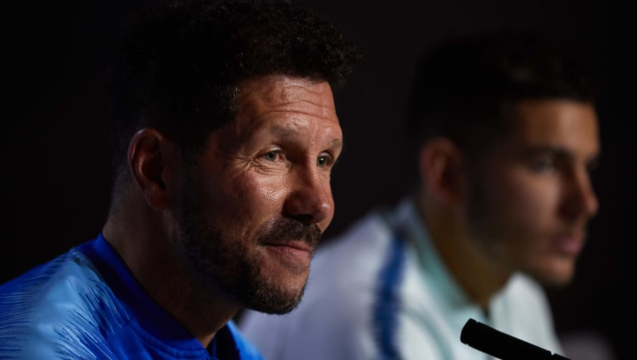 MAJADAHONDA, SPAIN - NOVEMBER 05: Head coach Diego Pablo Simeone (L) of Atletico de Madrid and Lucas Hernandez (R) during a press conference  ahead of the UEFA Champions League match against Borussia Dortmund at Atletico de Madrid Training Ground on November 05, 2018 in Majadahonda, Spain. (Photo by Gonzalo Arroyo Moreno/Getty Images)