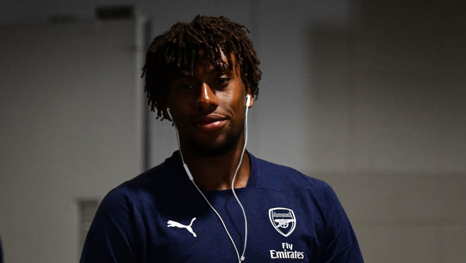 SINGAPORE - JULY 26: Alex Iwobi #17 of Arsenal looks on prior to the International Champions Cup 2018 match between Club Atletico de Madrid and Arsenal at the National Stadium on July 26, 2018 in Singapore.  (Photo by Thananuwat Srirasant/Getty Images for ICC)