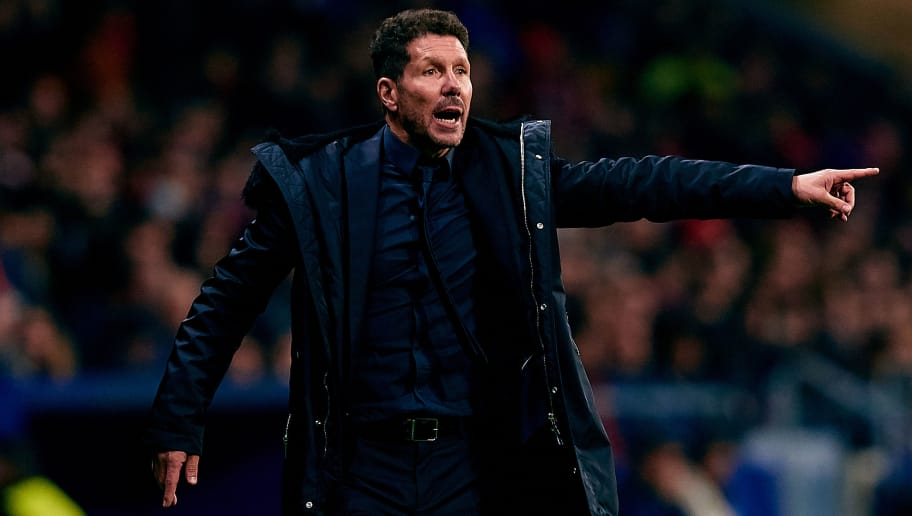 MADRID, SPAIN - NOVEMBER 28: Diego Pablo Simeone head coach of Atletico de Madrid reacts during the Group A match of the UEFA Champions League between Club Atletico de Madrid and AS Monaco at Estadio Wanda Metropolitano on November 28, 2018 in Madrid, Spain. (Photo by David Aliaga/MB Media/Getty Images)