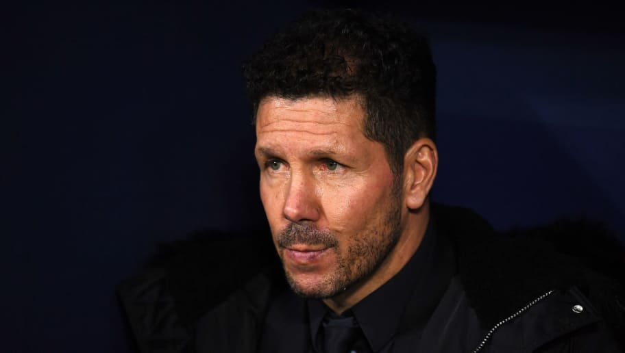MADRID, SPAIN - NOVEMBER 28:  Diego Simeone, Manager of Atletico Madrid looks on prior to the UEFA Champions League Group A match between Club Atletico de Madrid and AS Monaco at Estadio Wanda Metropolitano on November 28, 2018 in Madrid, Spain.  (Photo by David Ramos/Getty Images)