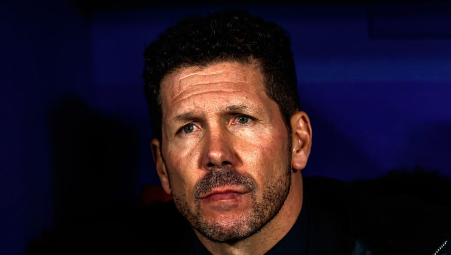 MADRID, SPAIN - NOVEMBER 28: Diego Pablo Simeone of Atletico de Madrid looks on during the Group A match of the UEFA Champions League between Club Atletico de Madrid and AS Monaco at Estadio Wanda Metropolitano on November 28, 2018 in Madrid, Spain. (Photo by TF-Images/TF-Images via Getty Images)