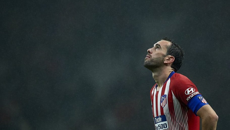 MADRID, SPAIN - NOVEMBER 10:  Diego Godin of Atletico de Madrid looks on during the La Liga match between  Club Atletico de Madrid and Athletic Club at Wanda Metropolitano on November 10, 2018 in Madrid, Spain. (Photo by Quality Sport Images/Getty Images)