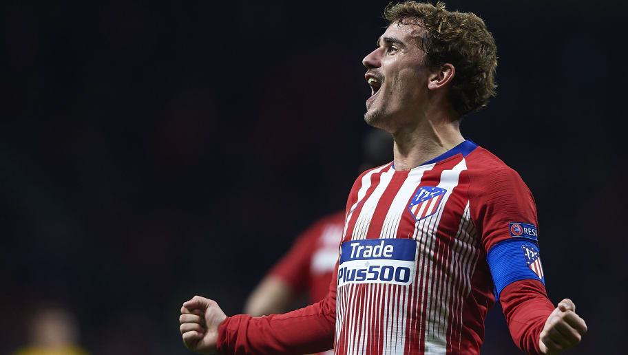 MADRID, SPAIN - NOVEMBER 06:  Antoine Griezmann of Atletico de Madrid celebrates scoring his team's second goal during the Group A match of the UEFA Champions League between Club Atletico de Madrid and Borussia Dortmund at Estadio Wanda Metropolitano on November 6, 2018 in Madrid, Spain.  (Photo by Quality Sport Images/Getty Images)