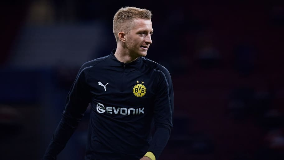 MADRID, SPAIN - NOVEMBER 06: Marco Reus of Borussia Dortmund looks on prior to the Group A match of the UEFA Champions League between Club Atletico de Madrid and Borussia Dortmund at Estadio Wanda Metropolitano on November 6, 2018 in Madrid, Spain. (Photo by David Aliaga/MB Media/Getty Images)