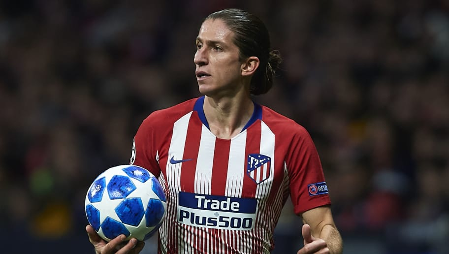 MADRID, SPAIN - NOVEMBER 06:  Filipe Luis of Atletico de Madrid looks on during the Group A match of the UEFA Champions League between Club Atletico de Madrid and Borussia Dortmund at Estadio Wanda Metropolitano on November 6, 2018 in Madrid, Spain.  (Photo by Quality Sport Images/Getty Images)